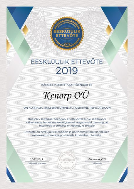 Kenorp_Eeskujulik_Ettevote_Sertifikaat_2019